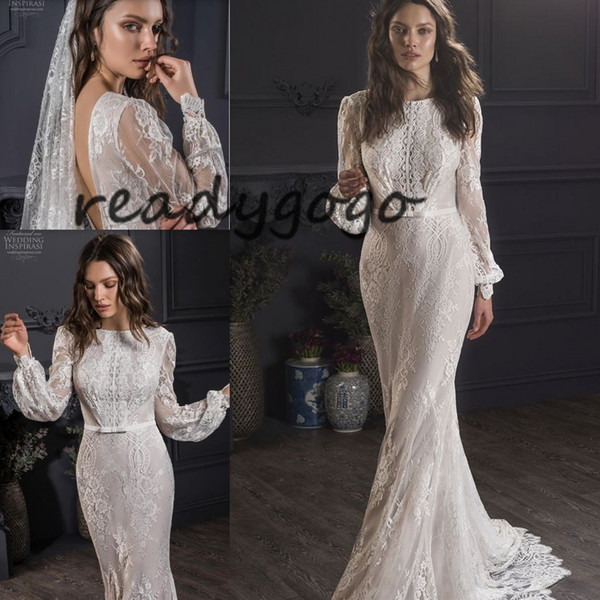 Long Sleeve Full Lace Applique Mermaid Wedding Dresses 2019 Lihi Hod Backless Jewel Neck Trumpet Bohoemian Holiday Beach Wedding Gown