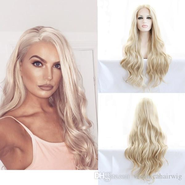 Мода высокое качество натуральный волосяного покрова блондинка длинные волнистые парики термостойкие волокна 180% плотность бесклеевой синтетические кружева перед парики для женщин