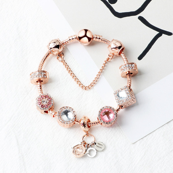 best selling 2020 New Pandora Rose Gold I Love You pendant bracelet fashion jewelry wholesale