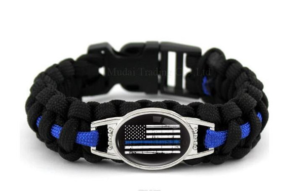 top popular Find Similar Black Blue THIN BLUE LINE American flag BACK THE BLUE POLICE Paracord Survival Outdoor Camping Bracelet for Women & men Girlfr 2021