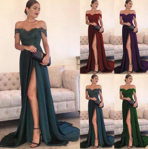 discount lowest price wholesale dealer Evening Dresses A Line Chiffon Off Shoulder Floor Length High Side Split  Lace Elegant Long Prom Dress Formal Dress Evening Dresses Cape Town Evening  ...