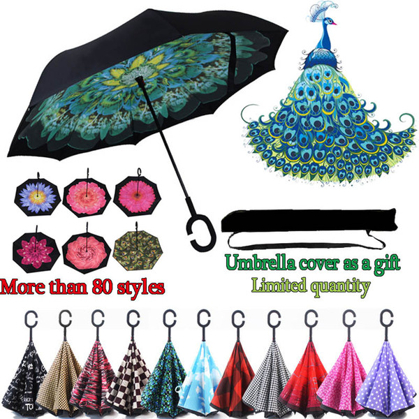 best selling C Handle Umbrellas Windproof Reverse Folding Double Layer Auto close Umbrella Inverted Sunny Rainy C-Hook hands free Umbrella Wholesale