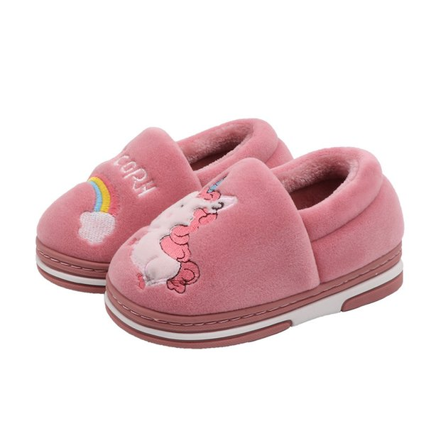Boy ve Ev Kapalı Karikatür Sevimli Çocuk Pamuk Ayakkabı ile Gril Çocuk Pamuk Terlik Sıcak Paketi