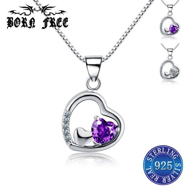 925 sterling silver purple zircon heart necklaces pendants 925 sterling silver pendant locket pendentif jewelry bijoux joyas