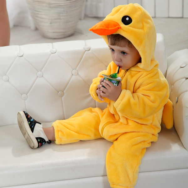 Flannel Winter Duck Rabbit Baby Boys Girls Rompers Kids Clothing New Born Cute Animal Cartoon Toddler Children's Rompers Clothes