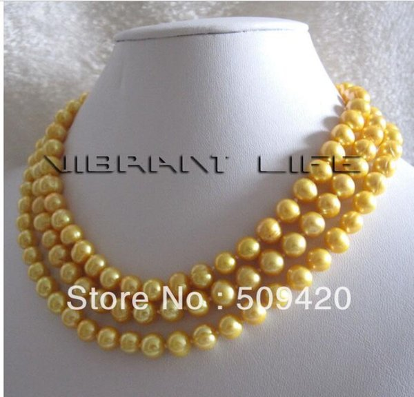FREE SHIPPING++ 7-8mm Golden Freshwater Pearl Necklace Jewelry Strand