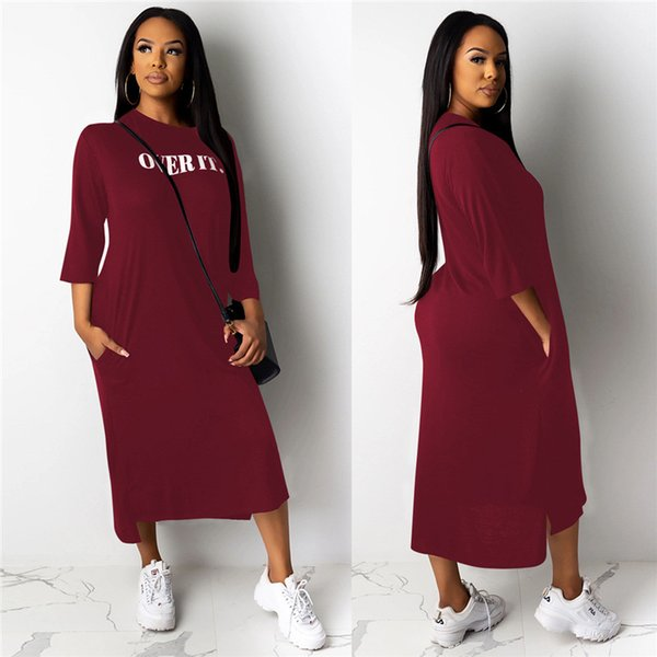 letter print womens casual dresses fashion side split irregular panelled womens designer dresses designer females clothing