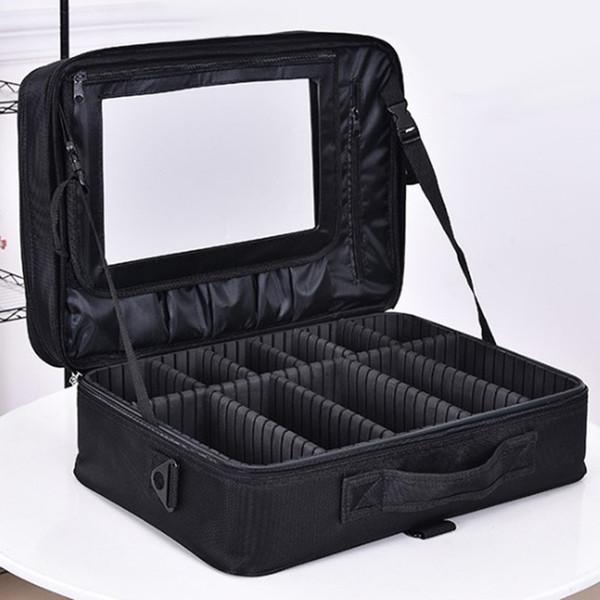 Professional makeup shoulder bag cosmetic big toolbox storage handbag with mirror travel beauty nail box messenger bags women suitcase