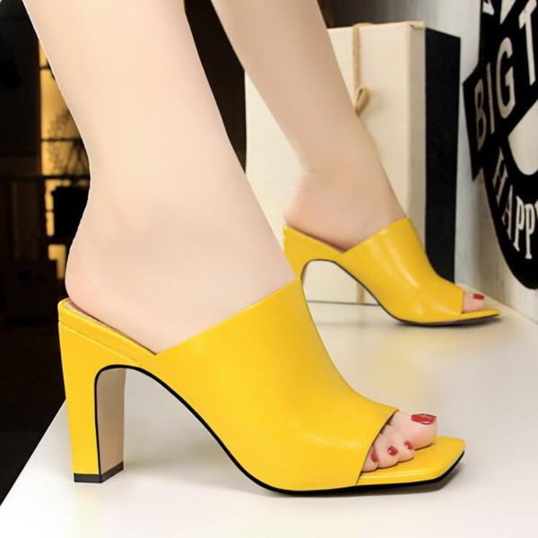 Sıcak Kadınlar Yaz Kare Ayak Yüksek Topuklu Rugan Kadın Sandalet Açık Toe Bayan Terlik ADF-0057