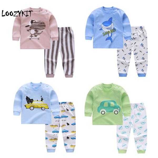 Loozykit 2019 Nouveau Style Bébé Garçons Filles Coton Ensemble À Manches Longues Bébé Vêtements Automne Pantalon Maison Casual Sous-Vêtements Costume