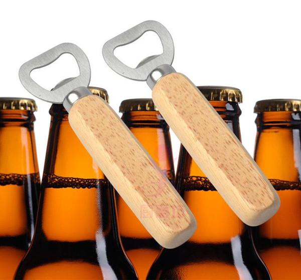 Wood Handle Beer Bottle Opener Stainless Steel Real Wood Strong Kitchen Tool Wooden Bottle Opener Perfect Manual Bottle Opener