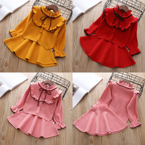 Baby Girls Knitted Clothing Sets Baby Girl Autumn Winter Clothing Sets Children Outfits Shirt + Skirt Sweater Suits