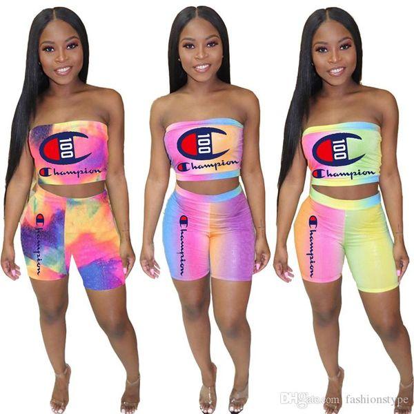 Mulheres Designer de Duas Peças Set Rainbow Tie-dye Campeão Strapless Crop Tubo Top + Motociclista Shorts Da Marca Outfit Bodycon Sportswear jog Suit