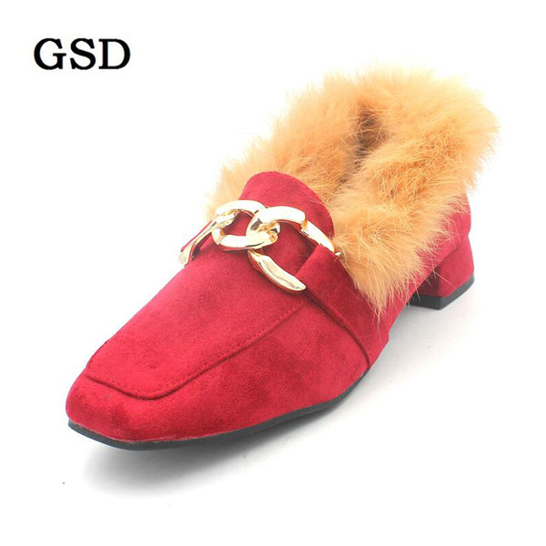 eba2cbe30e4 New Winter Women Fur Loafers Medium Heels Pumps Rabbit Fur Slip on Shoes  Woman Casual Shoes