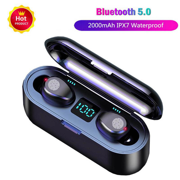 Wireless Earphone Bluetooth V5.0 F9 TWS LED Display With 2000mAh Power Bank Headset With Microphone Wireless Bluetooth Headphone