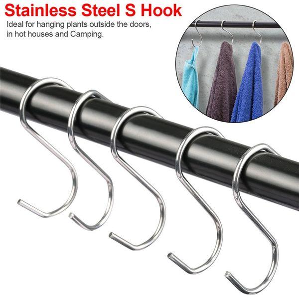 Acciaio inossidabile S-gancio Bagno metallo Hanger Clothes Rack Strumento 7,5 cm S Hanging Hanger Rack Cucina Camera Accessorio