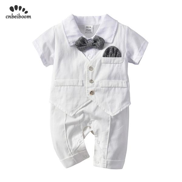Baby Boy Rompers White Gentleman Tie Suits Newborn Romper Vest Cotton Jumpsuit Infant Kids Birthday Wedding Party Clothes 2019 J190705