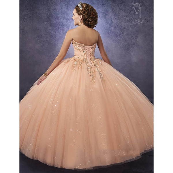 Sparkling Mary s Peach Quinceanera Dresses with Detachable Straps Waist  Tulle Sweet 16 Dress Lace Up Back Prom Gowns a4e17e883011