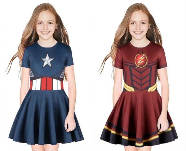 Meninas Roupas Cosplay Capitão América Vestido Uniforme Menina Linda Crianças Estrela-Impresso Vestido Crianças Vestido De Princesa