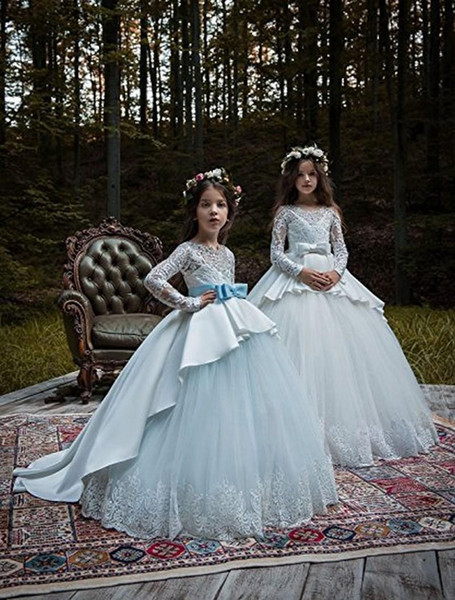 White/Ivory Lace Applique Kids TUTU Flower Girl Dresseses First Communion Party Princess Gown Bridesmaid Wedding Formal Occasion Dress