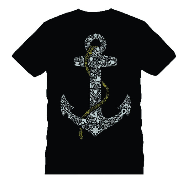 ANCHOR pirates 2 BONES funny t-shirt TEE Father's day birthday gift dtg wholesale Funny High Quality Tops Tees Men 100% Cotton