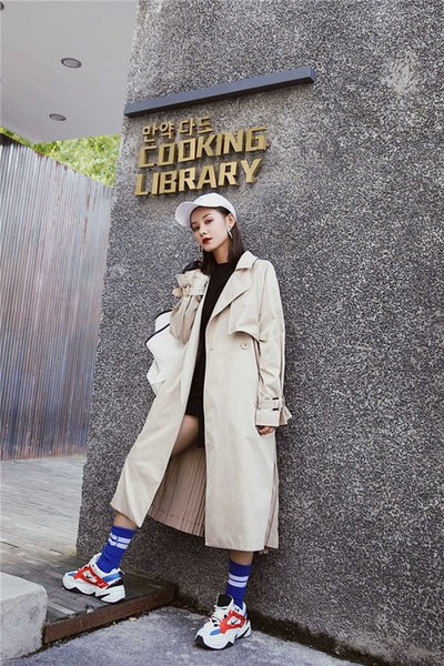 """womens trench coat british style long sleeves pocket spring thin coats women""""s long sleeve windbreaker pleated overcoats abrigo mujer"""