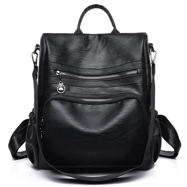 Moda Kadın Bagpack Seyahat PU Deri Sırt Çantası Okul Omuz Çantası Genç Kızlar için Siyah Sırt Çantaları Kadın mochila mujer # 307766