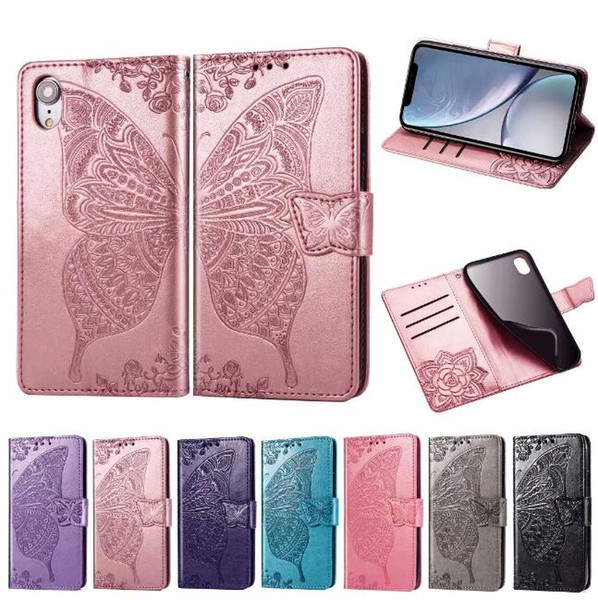 Mandala Butterfly Embossing Leather Flip Wallet Case Soft Phone Cover Case for Huawei P30 Pro LITE Y7 Y6 2019 Samsung A40 A50 A70 M20