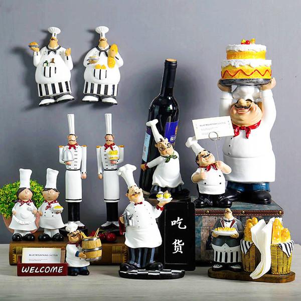 Boulangerie créative Résine Chef de Figurines Décoration Décoration Accessoires Salon Décoration Wine Rack Bakery Ornements