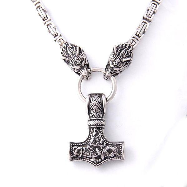 Nouvelle arrivée en acier inoxydable faisant jamais fondu collier de loup Viking avec thor pendentif marteau comme cadeau de Noël