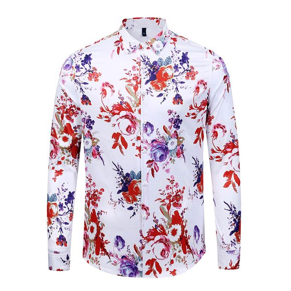 True Reveler nightclub shirts design men long sleeve shirts fashion flower rose blouse hip hop party club tops black white