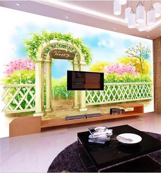 Großhandel Benutzerdefinierte Größe 3d Fototapete Wohnzimmer Wandbild  Cartoon Gartenzaun Landschaft 3d Bild Sofa TV Hintergrund Tapete Vlies ...