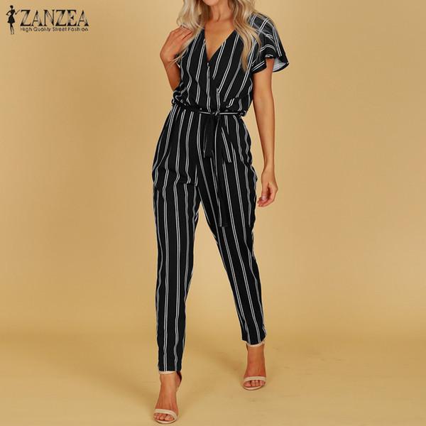 Zanzea 2019 Elegant Rompers Women Jumpsuit Female Striped Pants Office Ladies Bodysuits V Neck Belted Summer Trouser Plus Size MX190726
