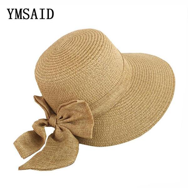 86f0456836a70 Comercio al por mayor Moda Arco Grande Sombrero de Sol de Ala Ancha  Sombreros de Verano