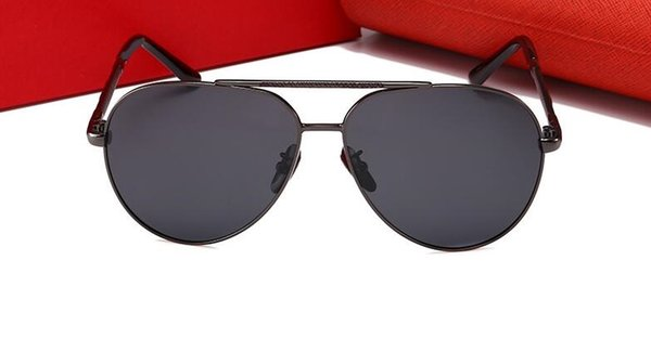 High quality new men's polarized color film sunglasses large frame fashion trend anti-UV sunglasses 0804 With Case and box