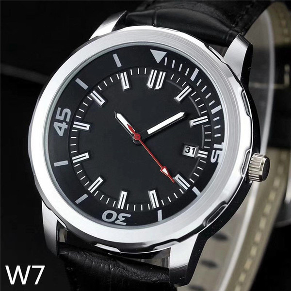 motion new fashion watches Automatic quartz watch black leather bracelet three-pin man table battery drive Wristwatches