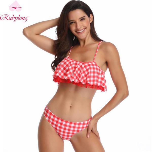 Rubylong Tassel Bikini Women High Neck Swimsuit Female Push Up Swimwear Sexy Halter Bikini Set Vintage Bathing Suit Beachwear