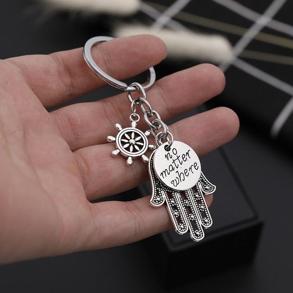 El Fatima kolye Çanta Charms Anahtarlık Takı Anahtar Yüzükler Kadınlar Erkekler için Holder Anahtarlık olursa olsun