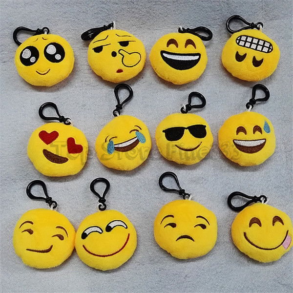 top popular EMOJI Plush Phone Pendant 40 Models Different Styles Plush Keychain Chat Funny Emoticon Mode Mobile phone Message EMOJI Toy LS70194 2020