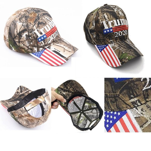 best selling Hot Camo Donald Trump 2020 Hat Make America Great MAGA Caps USA Flag Embroidery Letter Snapback Camouflage Men Baseball Cap for Women Female
