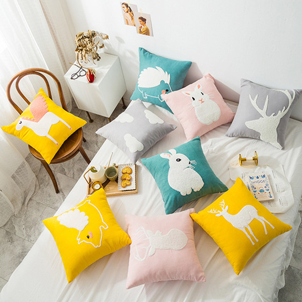 Cute Cartoon Animals Pillow Cover Interesting Embroidered Fine Linen Pillow Cushion Decorative For Sofa Decor Throw Pillowcase