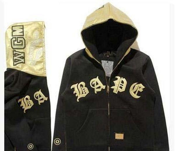Alta buona qualità del marchio in America popolare marca degli uomini '; in pelle S oro a mosaico con cappuccio Vintage giacca cardigan con cappuccio Autunno Inverno Hood