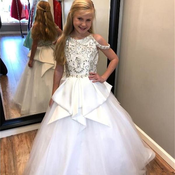 Elegante blanco puro con cuentas cristales Niñas Vestidos del desfile 2019 Joyas Cuello del cuello con Peplum Niños Vestidos formales Vestidos Fiesta Cumpleaños Vestido