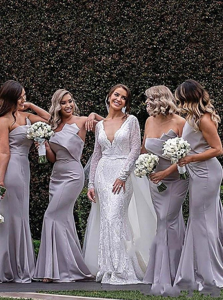 Elegant Sliver Mermaid Long Cheap Bridesmaid Dresses Strapless Ruched Floor Length Backless Country Wedding Party Prom Bridesmaids Dress