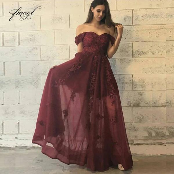 Fmogl 2019 A linha de Borgonha Prom Dress Off-a-ombro pescoço barco Lace apliques Illusion personalizado Partido Vestido de varredura-Floor