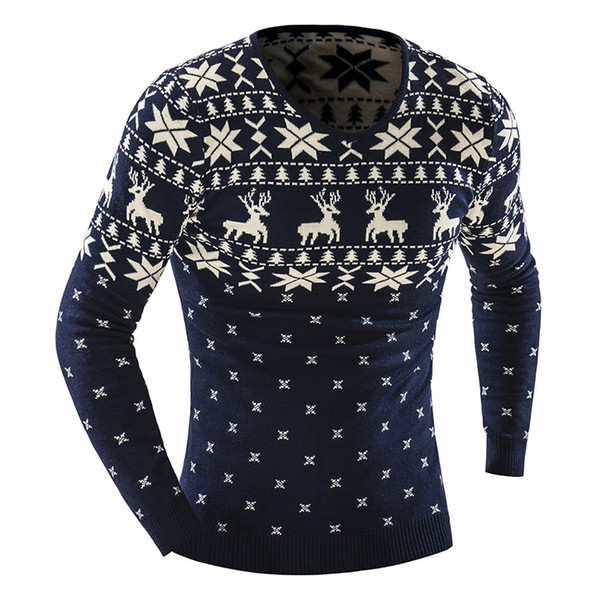 2019 New Autumn Winter Pullover Men Christmas Sweater Jumper V Neck Deer Pattern Slim Fit Knitted Christmas Sweaters Knitwear