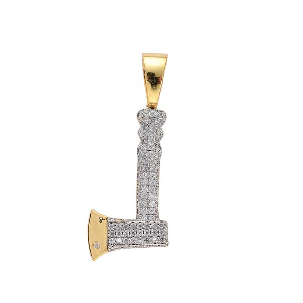 BRASS CZ Hip Hop Necklace Tool Axe Pendant for men and women jewelry party gift CN058