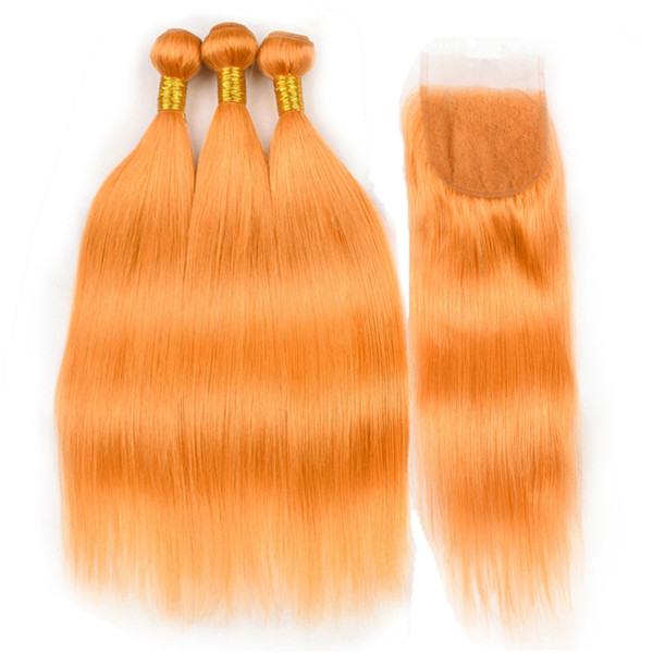 Indian Virgin Human Hair Pure Orange Straight 3Bundles with Top Closure 4Pcs Lot Orange Colored Lace Front Closure 4x4 with Weave Bundles