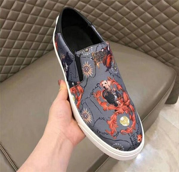 Spring Autumn print fashion men's casual shoes color mixed all match casual shoes popular comfortable breathable embossed low top shoes2019