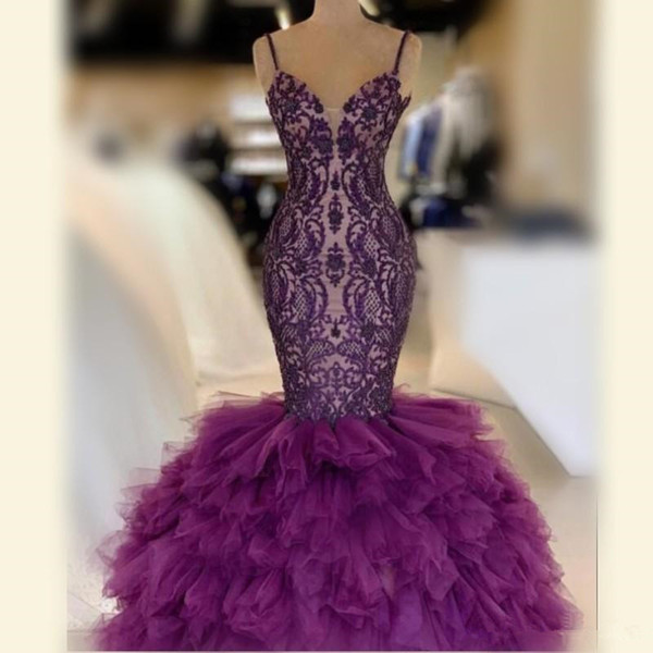 Purple Mermaid Prom Dresses With Spaghetti Straps Tiered Skirt Tulle And Lace Celebrity Evening Dress Floor Length Sexy 2K19 Party Gowns